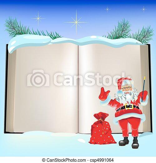 Christmas Book and Santa Claus. - csp4991064