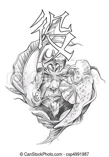 Image De Tatouage Croquis Japonaise Art Guerrier