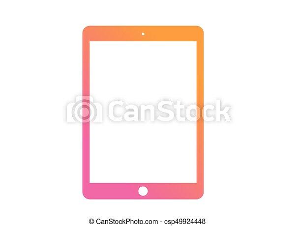 roze, plat, vector, tablet, kleurrijke, helling, computer, sinaasappel, pictogram - csp49924448