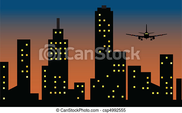 flight arrive over the city - csp4992555