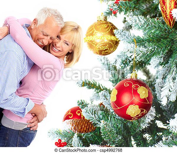 Christmas elderly couple - csp4992768