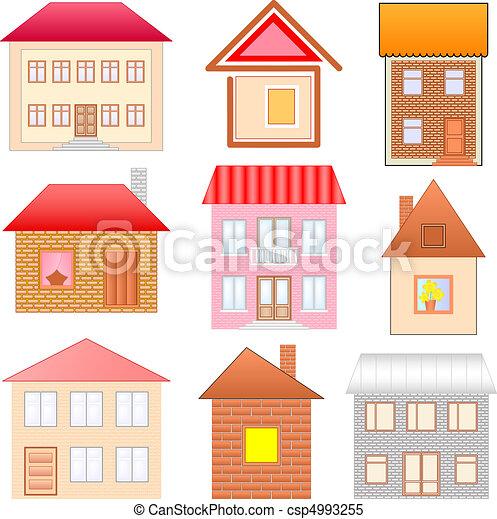 Clipart vettoriali di case disegni setcsp4993255 cerca for Disegni di case toscane