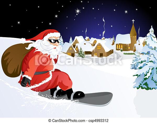 Santa Claus on Snowboard - csp4993312