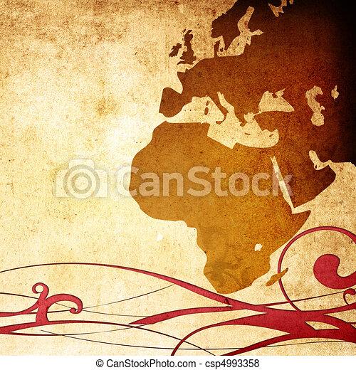 aged Europe map-grunge artwork - csp4993358
