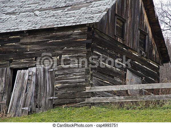 closeup of corner of log shed - csp4993751