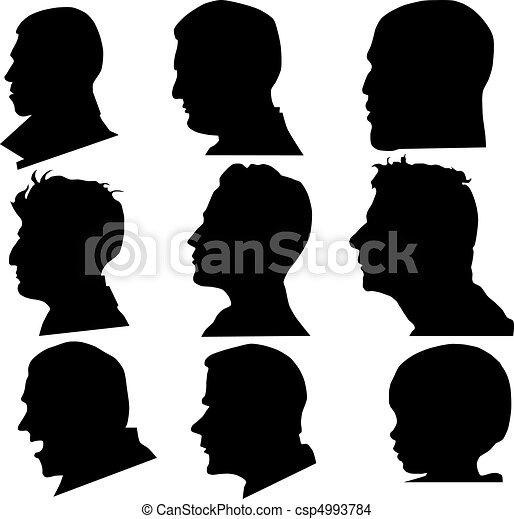 Profiel,  Vector, gezicht - csp4993784