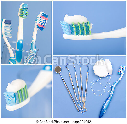 Dental tools, floss, and toothbrush - csp4994042