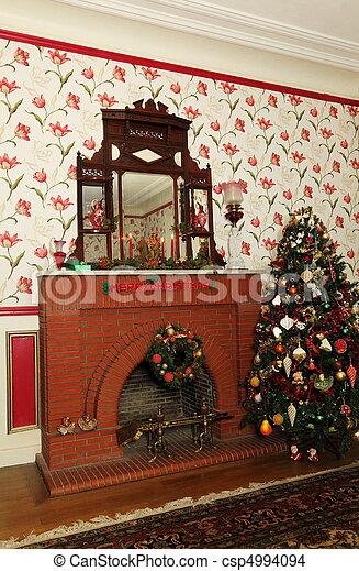 Retro Christmas Fireplace and Tree - csp4994094