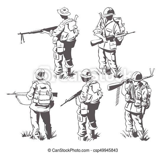 Frame for scrapbook, banner, sticker, social network. Military theme. - csp49945843