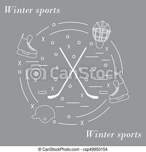 Vector illustration of various subjects for hockey arranged in a circle. Including icons of helmet, skates, goalkeeper mask, stick, puck. - csp49950154