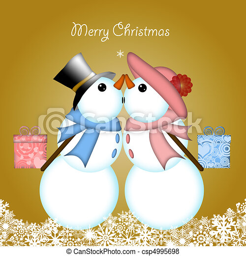 Christmas Kissing Snowman Couple Giving Gifts - csp4995698