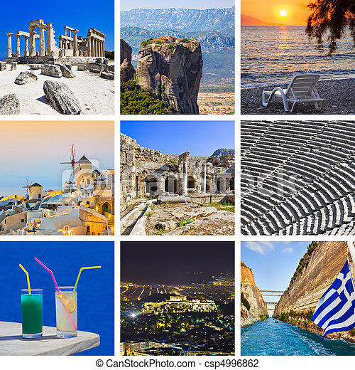 Collage of Greece travel images - csp4996862
