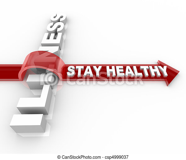 Stay Healthy - Words Jumping Over Illness - csp4999037