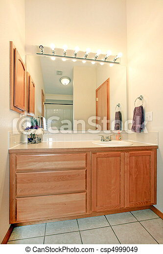 stock photographs of bathroom cabinets - simple bathroom with