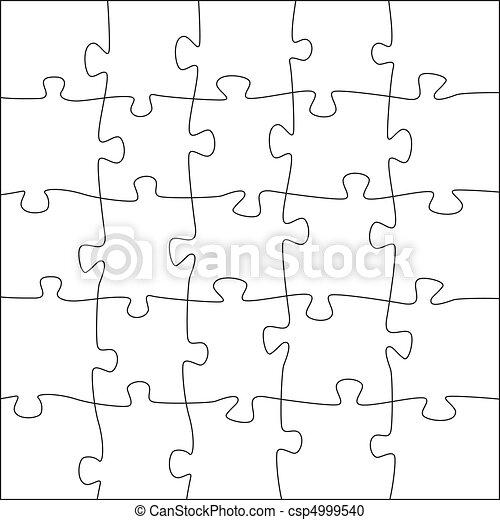 5x5 jigsaw puzzle template - irregular pieces - csp4999540