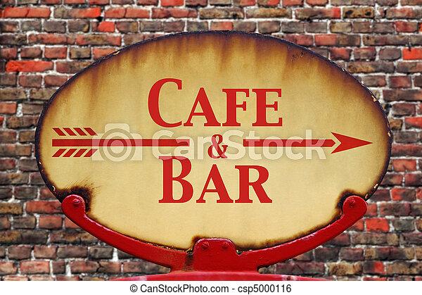 Retro sign Cafe and Bar - csp5000116