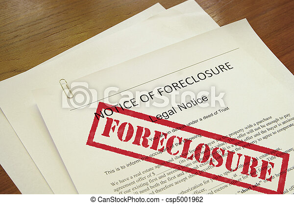 mortgage foreclosure document with red stamped text - csp5001962