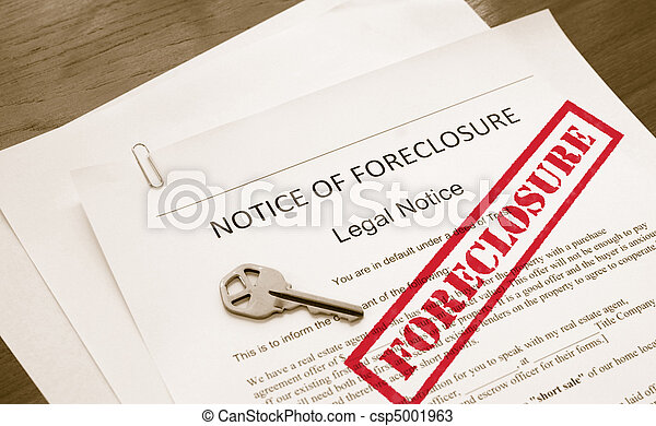 home foreclosure legal document with house key - csp5001963