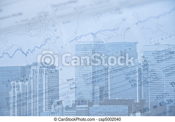 London financial district image with brands removed and image given blue tone to represent cold side of business and finance - csp5002040