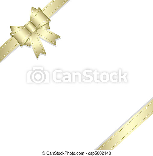 Golden gift ribbon and bow isolated - csp5002140