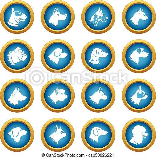 Dog icons blue circle set - csp50026221