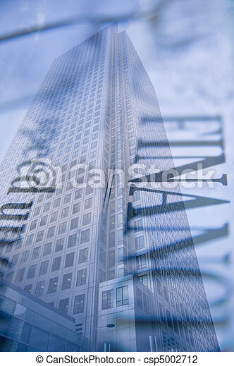 Buusiness concept financial district modern skyscrapers - csp5002712
