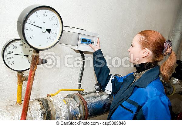heating engineer in boiler room  - csp5003848