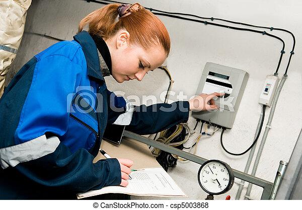 heating engineer in boiler room  - csp5003868