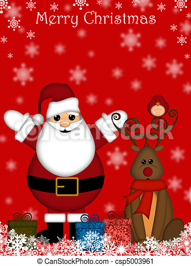 Christmas Santa Claus and Red-Nosed Reindeer - csp5003961
