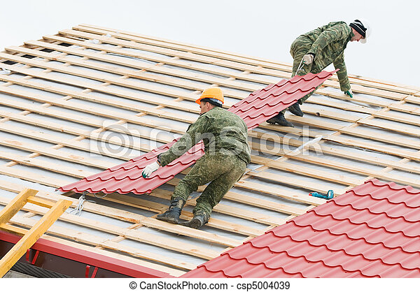 roofing work with metal tile - csp5004039