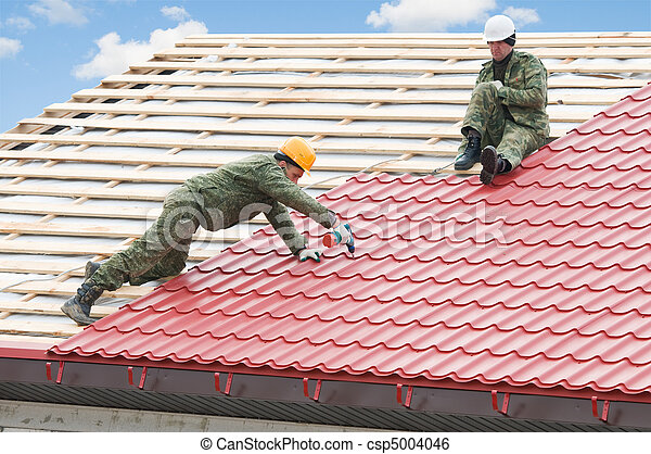 roofing work with metal tile - csp5004046