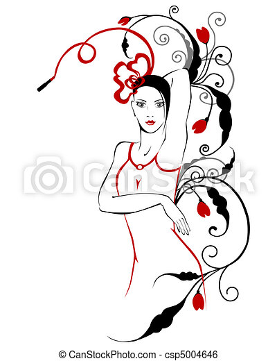 fashionable  girl with floral ornament - csp5004646