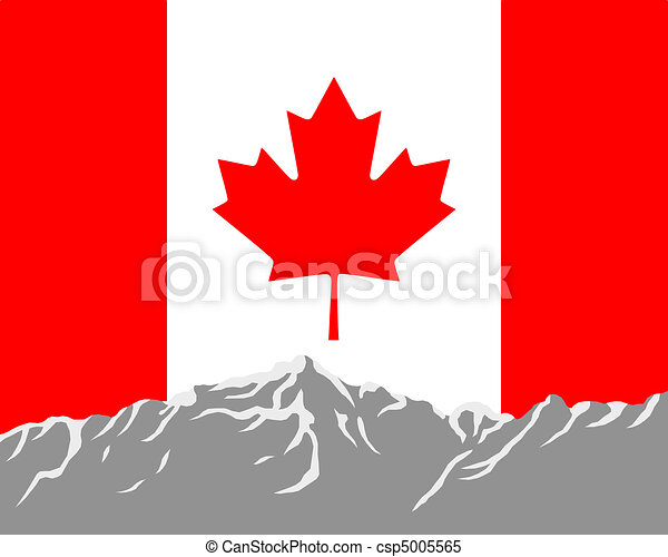 Mountains with flag of Canada - csp5005565