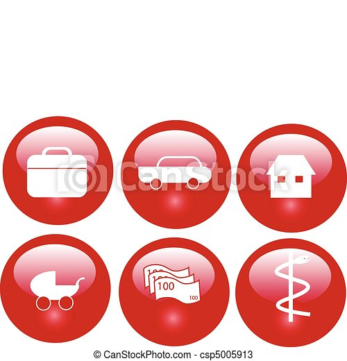 red insurance buttons - csp5005913