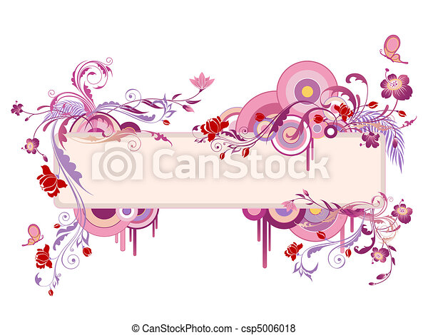 colored banner with floral ornament and butterfly - csp5006018