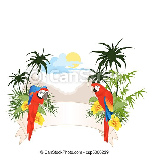 summer banner with parrots - csp5006239