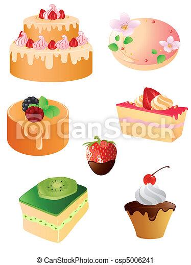 set of sweet dessert  icons - csp5006241