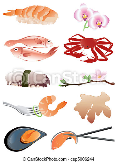seafood and other traditional japanese food icons - csp5006244