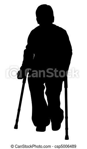 Handicap person with crutches - csp5006489