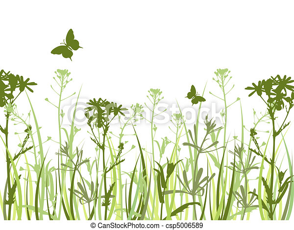 Green background with flowers and butterflies - csp5006589