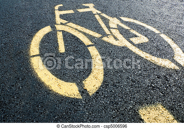 Bicycle lane sign on road - csp5006596