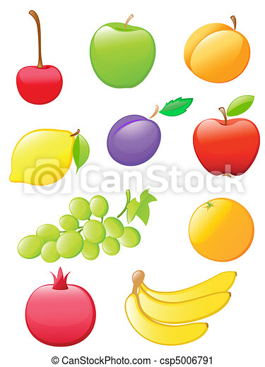 glossy fruit icons - csp5006791