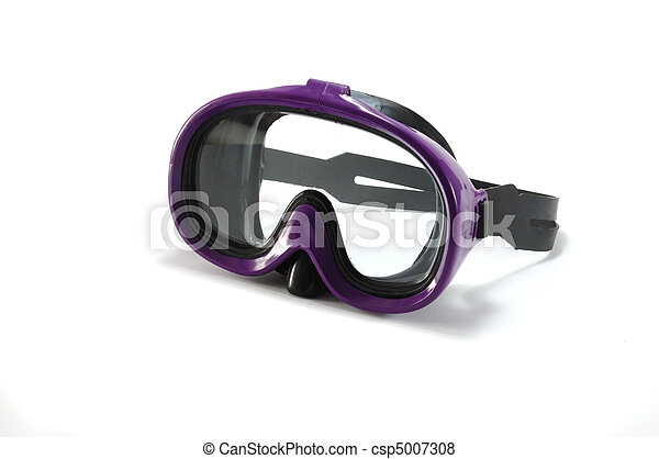 Equipment for snorkeling - diving mask on white background - csp5007308