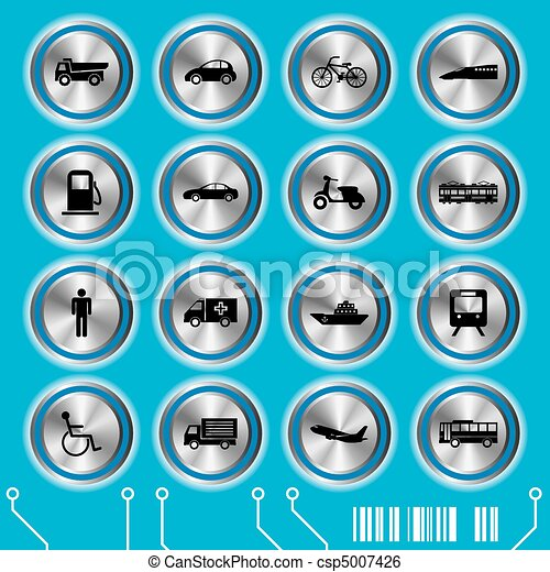 Blue transportation icons set - csp5007426