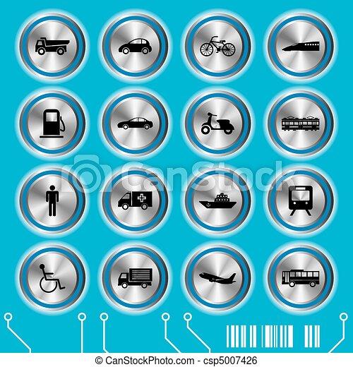 Blue transportation icons set - csp5007426