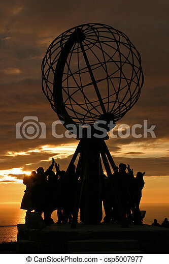 The North Cape Globe at midnight #2 - csp5007977