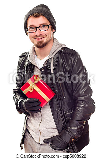 Warmly Dressed Handsome Young Adult Holding Gift - csp5008922