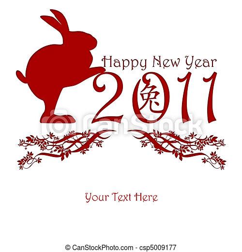 Chinese New Year Rabbit Holding 2011 - csp5009177