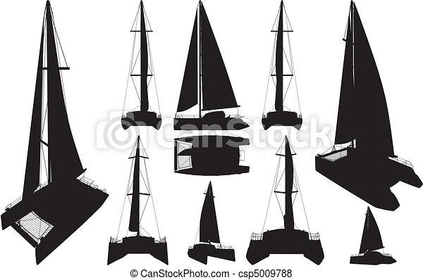 Catamaran Boat Silhouettes - csp5009788