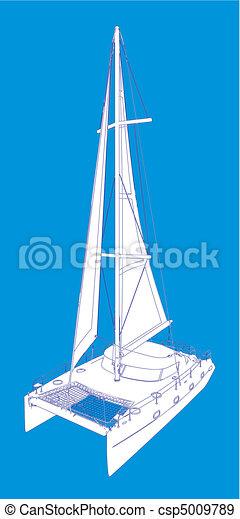 Catamaran Boat Drawing Like Paint - csp5009789